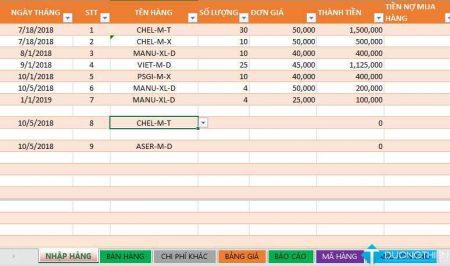 Code VBA tự động thêm ngày tháng và tự động xóa dòng trống trong Excel
