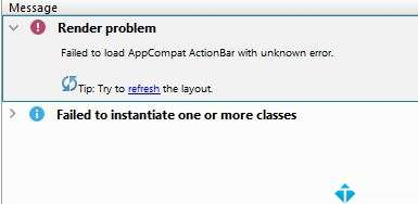 Lỗi Android Studio : Failed to load AppCompat ActionBar with unknown error